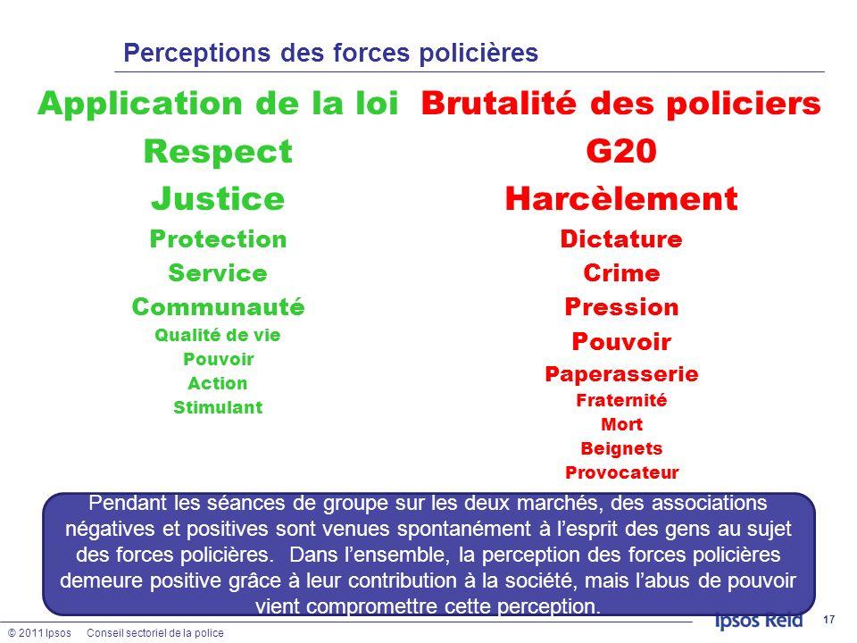 Perceptions des forces policières