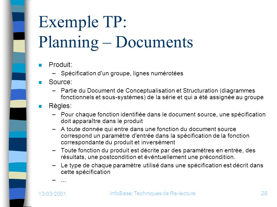 Exemple TP: Planning – Documents