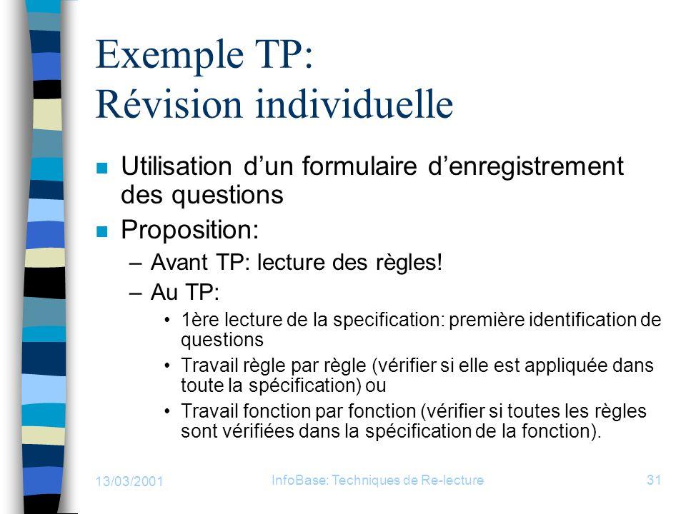 Exemple TP: Révision individuelle