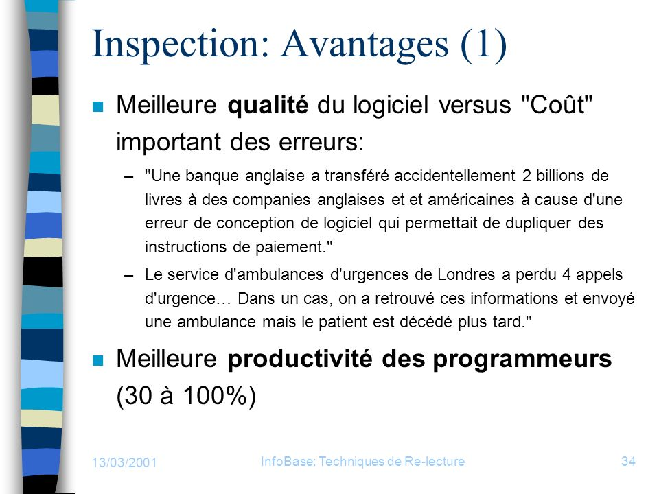 Inspection: Avantages (1)
