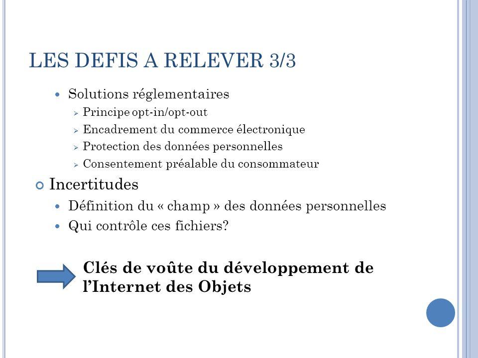 LES DEFIS A RELEVER 3/3 Incertitudes
