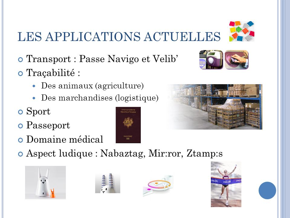 LES APPLICATIONS ACTUELLES