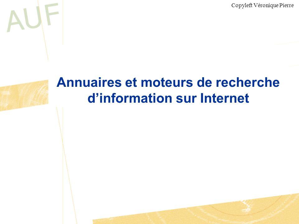 Annuaires et moteurs de recherche d'information sur Internet