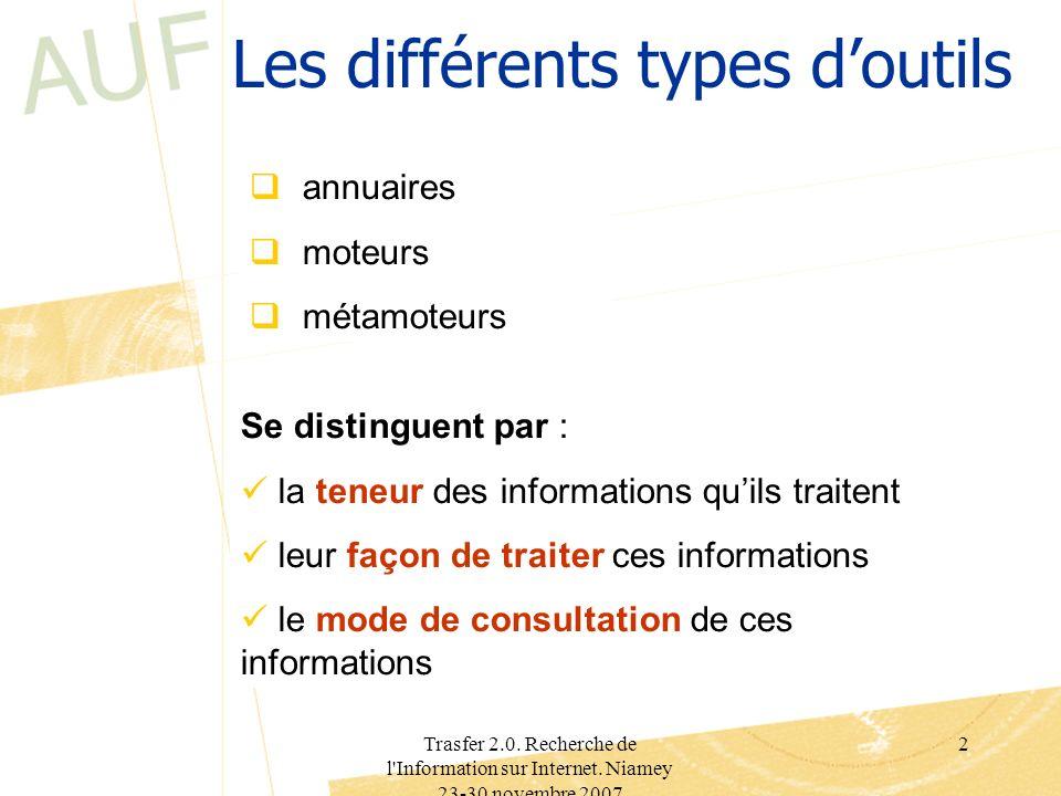 Les différents types d'outils