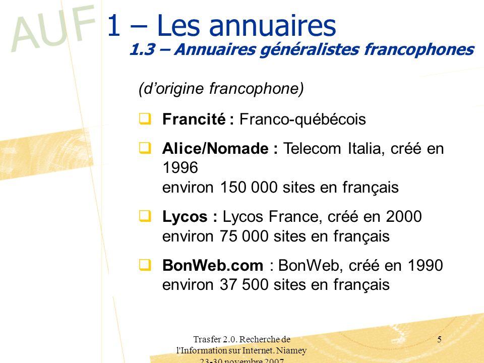 1.3 – Annuaires généralistes francophones