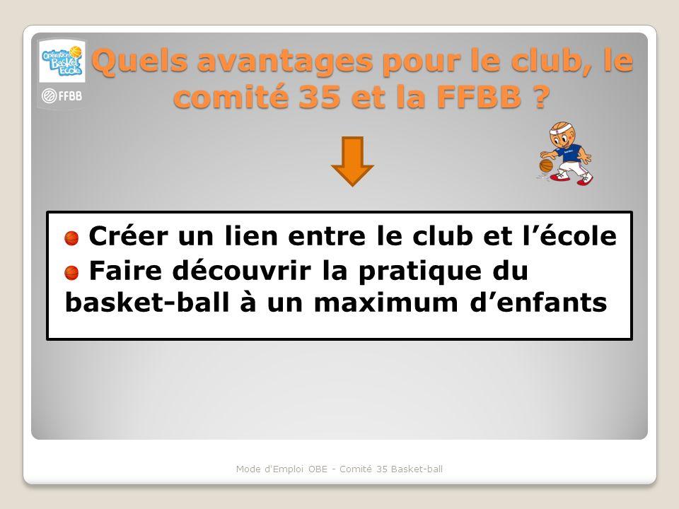 Quels avantages pour le club, le comité 35 et la FFBB