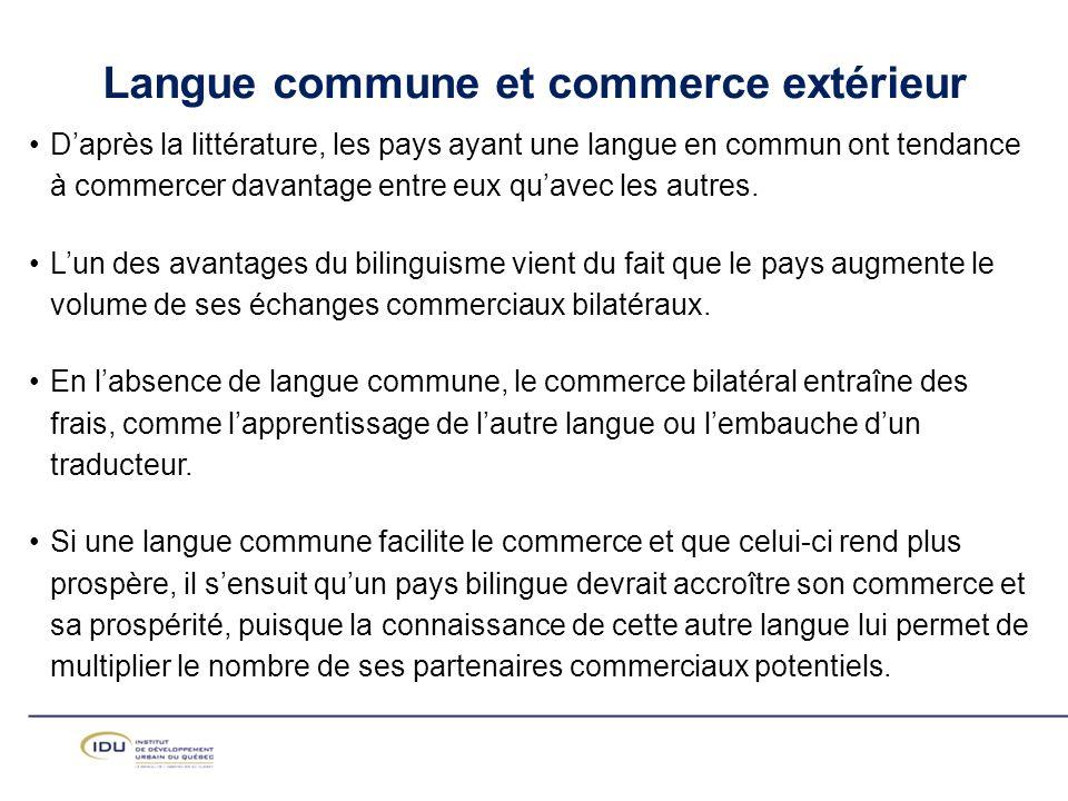 Langue commune et commerce extérieur