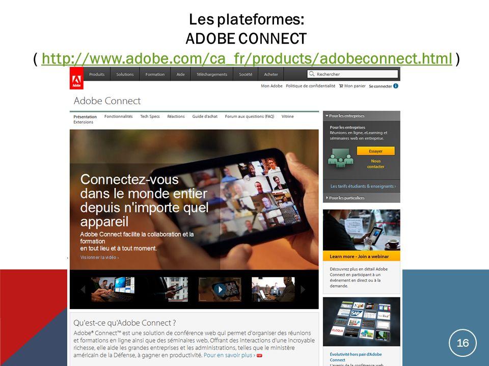 Les plateformes: ADOBE CONNECT