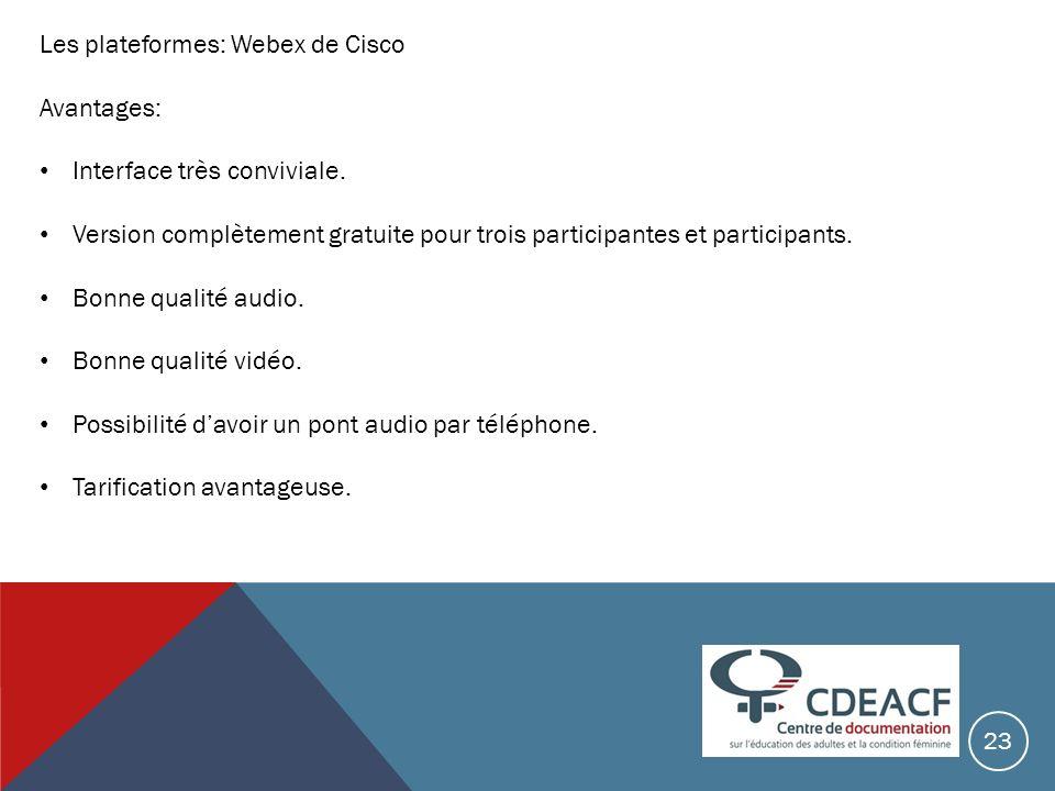 Les plateformes: Webex de Cisco Avantages: