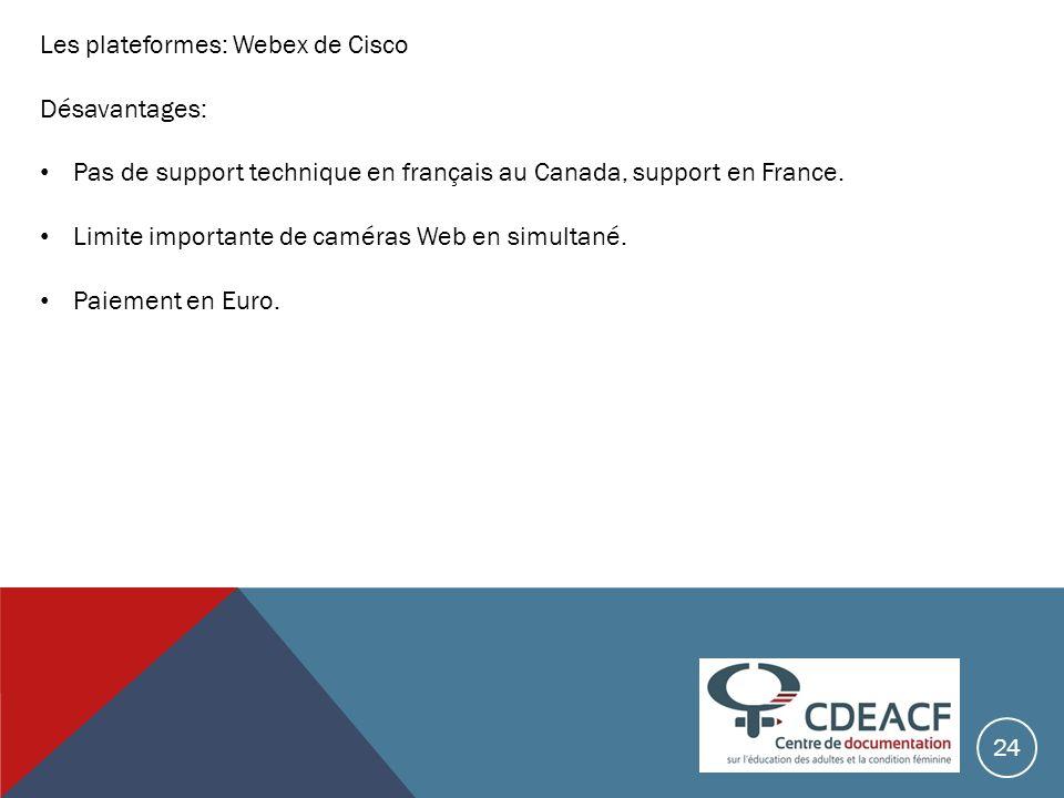 Les plateformes: Webex de Cisco Désavantages: