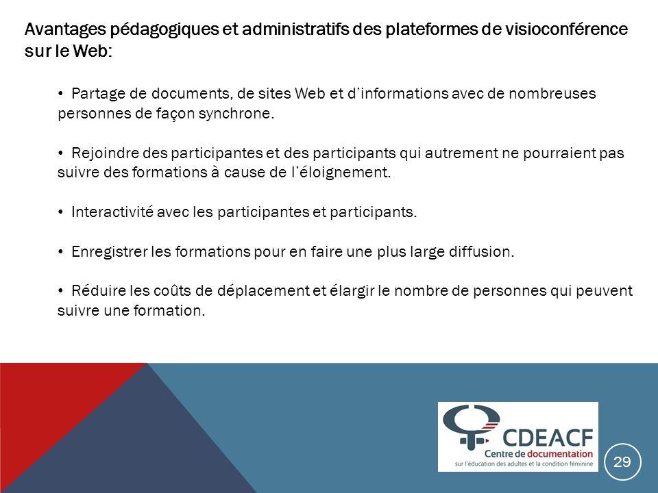 Avantages pédagogiques et administratifs des plateformes de visioconférence sur le Web:
