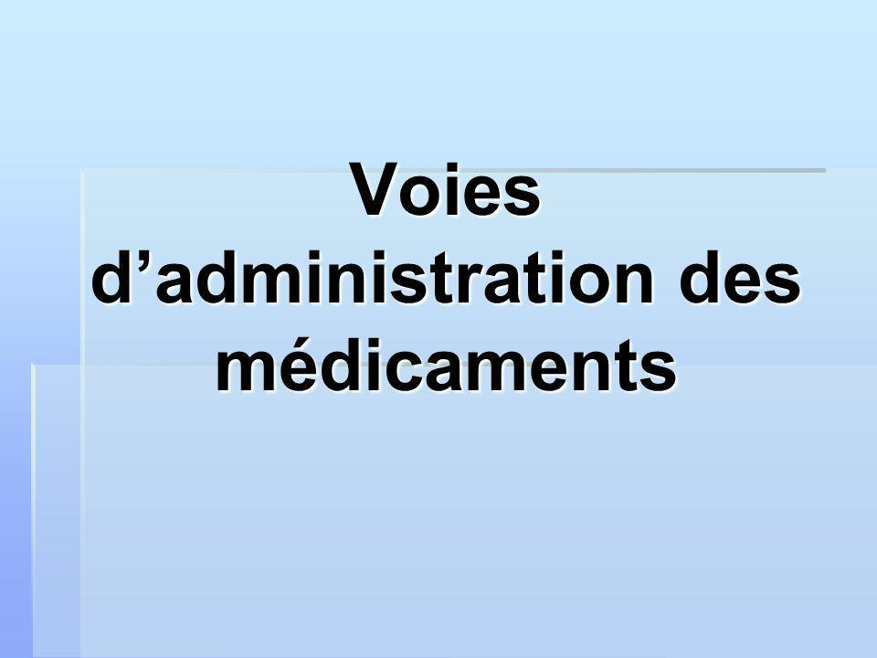 Voies d'administration des médicaments