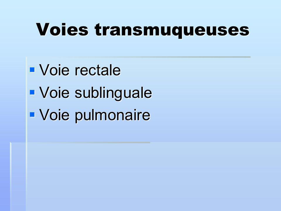 Voies transmuqueuses Voie rectale Voie sublinguale Voie pulmonaire
