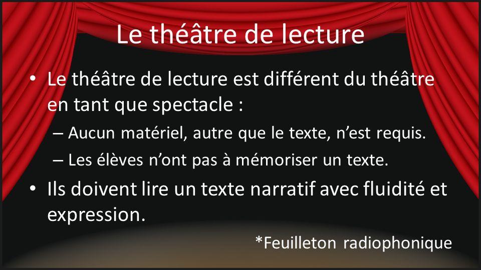 Le théâtre de lecture Le théâtre de lecture est différent du théâtre en tant que spectacle : Aucun matériel, autre que le texte, n'est requis.