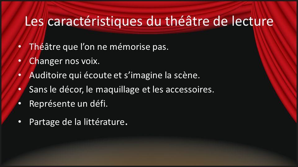 Les caractéristiques du théâtre de lecture