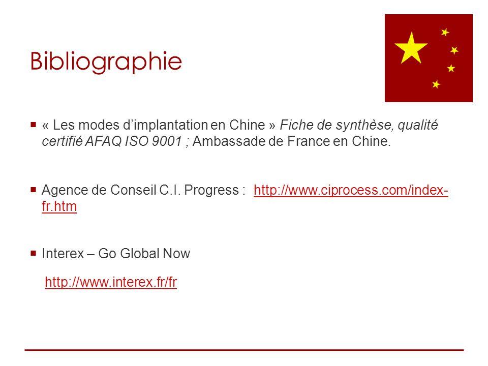 Bibliographie « Les modes d'implantation en Chine » Fiche de synthèse, qualité certifié AFAQ ISO 9001 ; Ambassade de France en Chine.