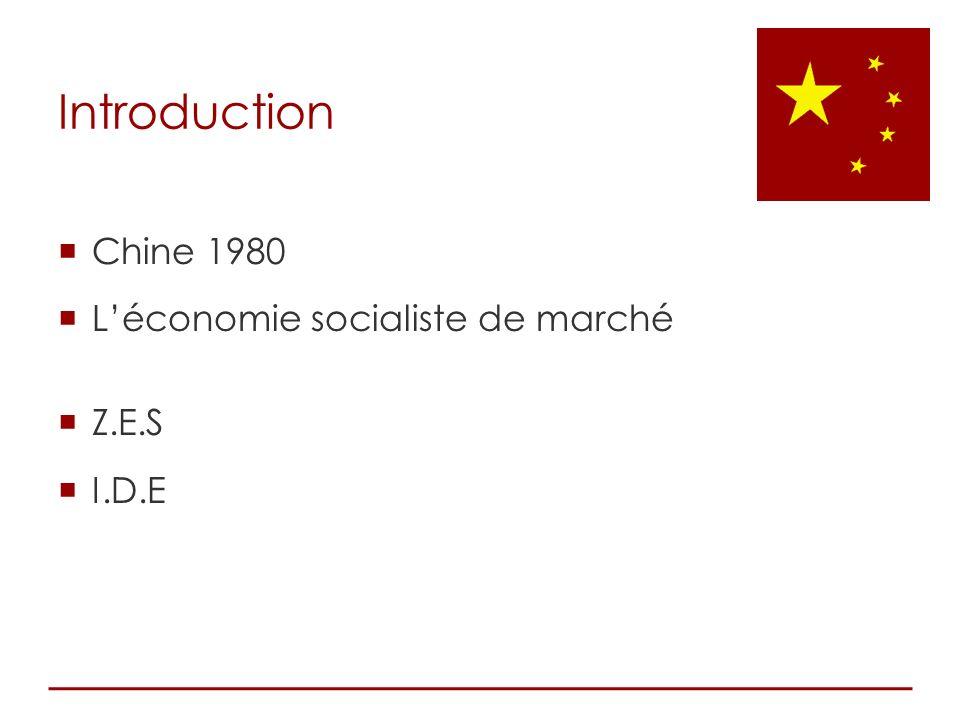 Introduction Chine 1980 L'économie socialiste de marché Z.E.S I.D.E