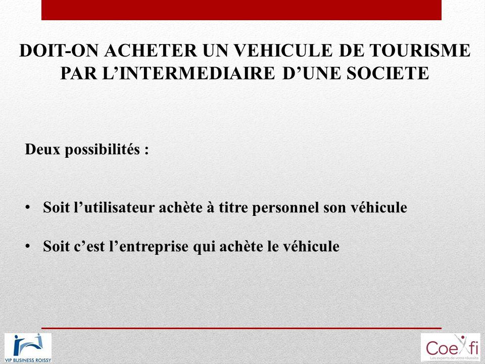 DOIT-ON ACHETER UN VEHICULE DE TOURISME PAR L'INTERMEDIAIRE D'UNE SOCIETE
