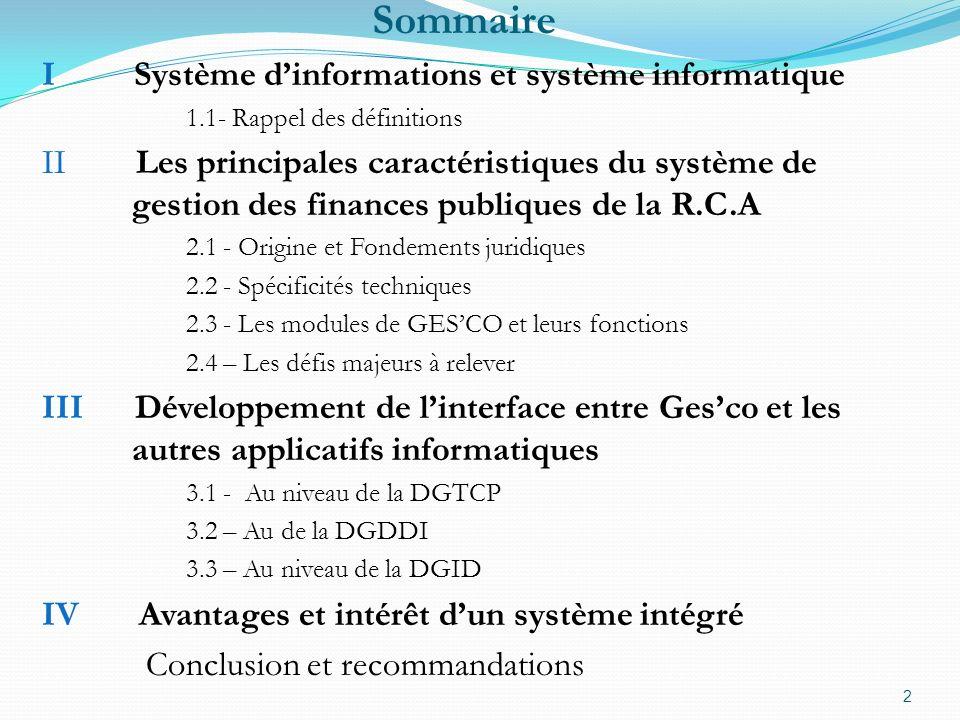 Sommaire I Système d'informations et système informatique