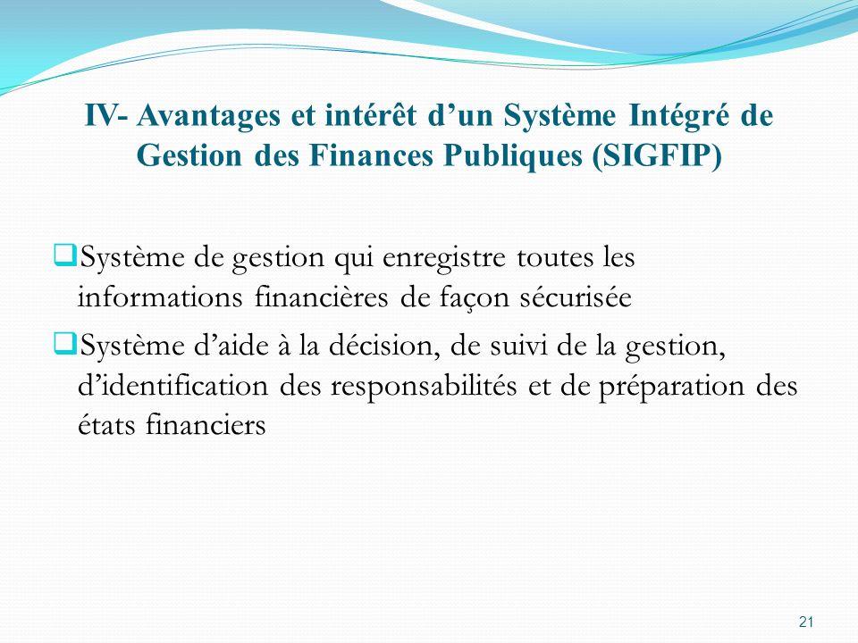 IV- Avantages et intérêt d'un Système Intégré de Gestion des Finances Publiques (SIGFIP)