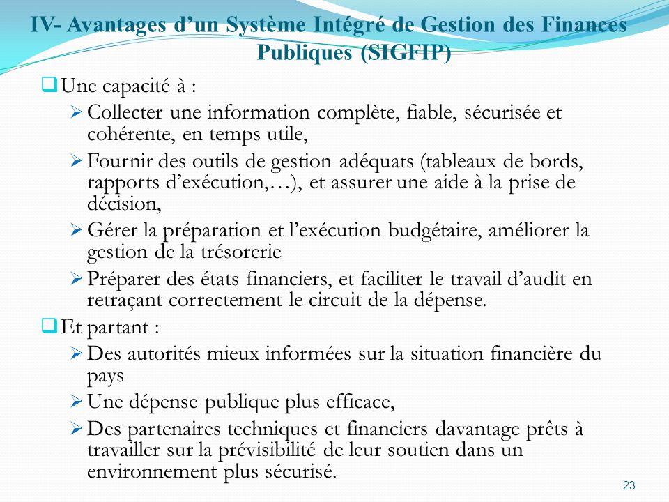 IV- Avantages d'un Système Intégré de Gestion des Finances Publiques (SIGFIP)