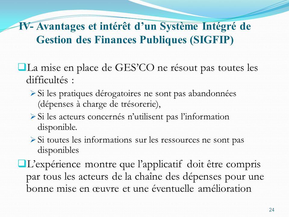 La mise en place de GES'CO ne résout pas toutes les difficultés :