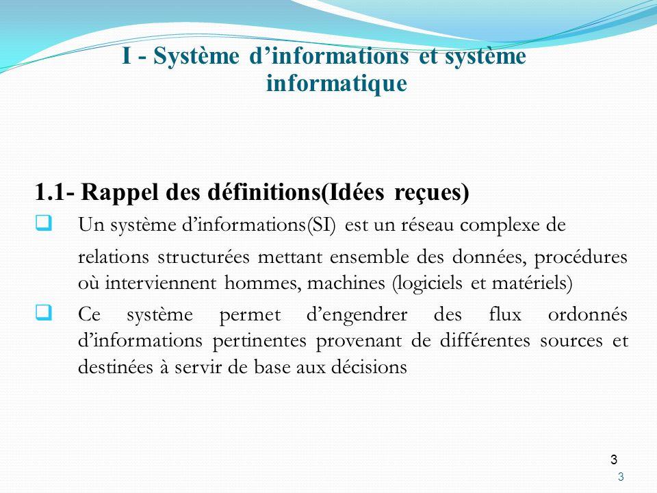 I - Système d'informations et système informatique
