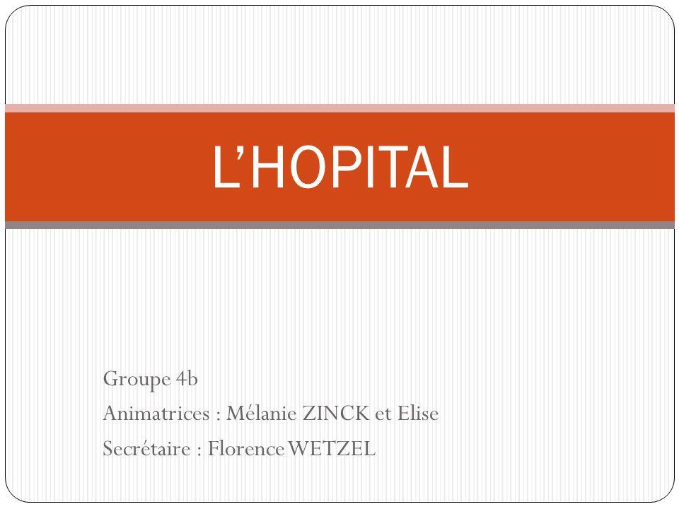 L'HOPITAL Groupe 4b Animatrices : Mélanie ZINCK et Elise