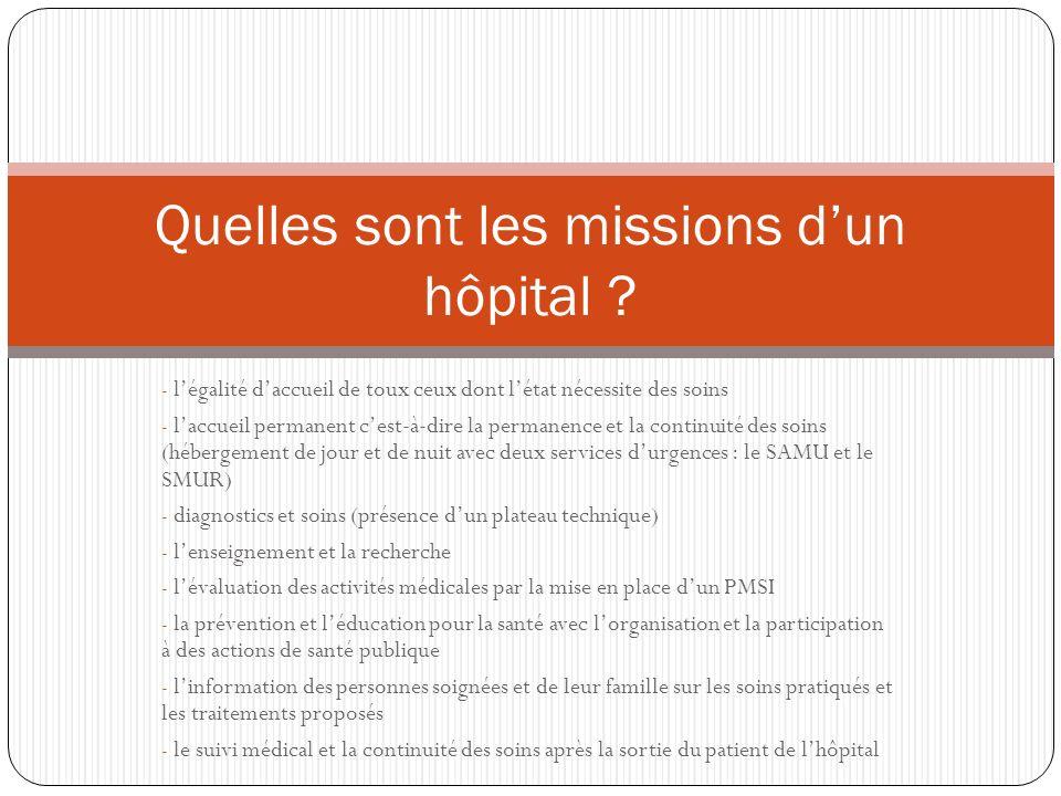 Quelles sont les missions d'un hôpital