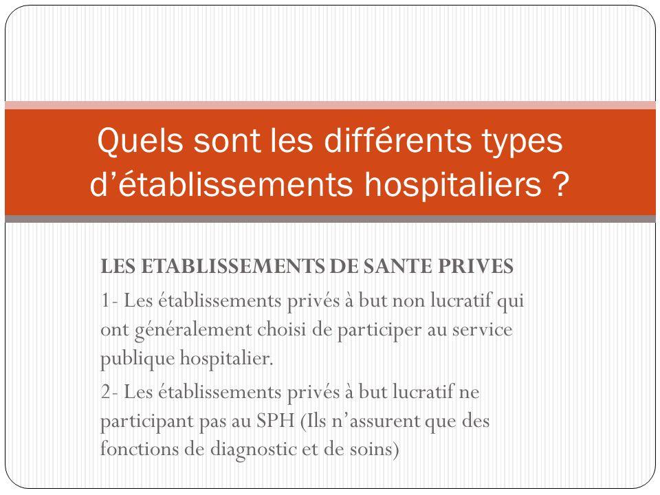 Quels sont les différents types d'établissements hospitaliers