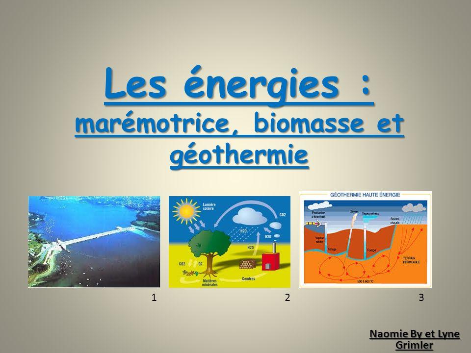 Les énergies : marémotrice, biomasse et géothermie