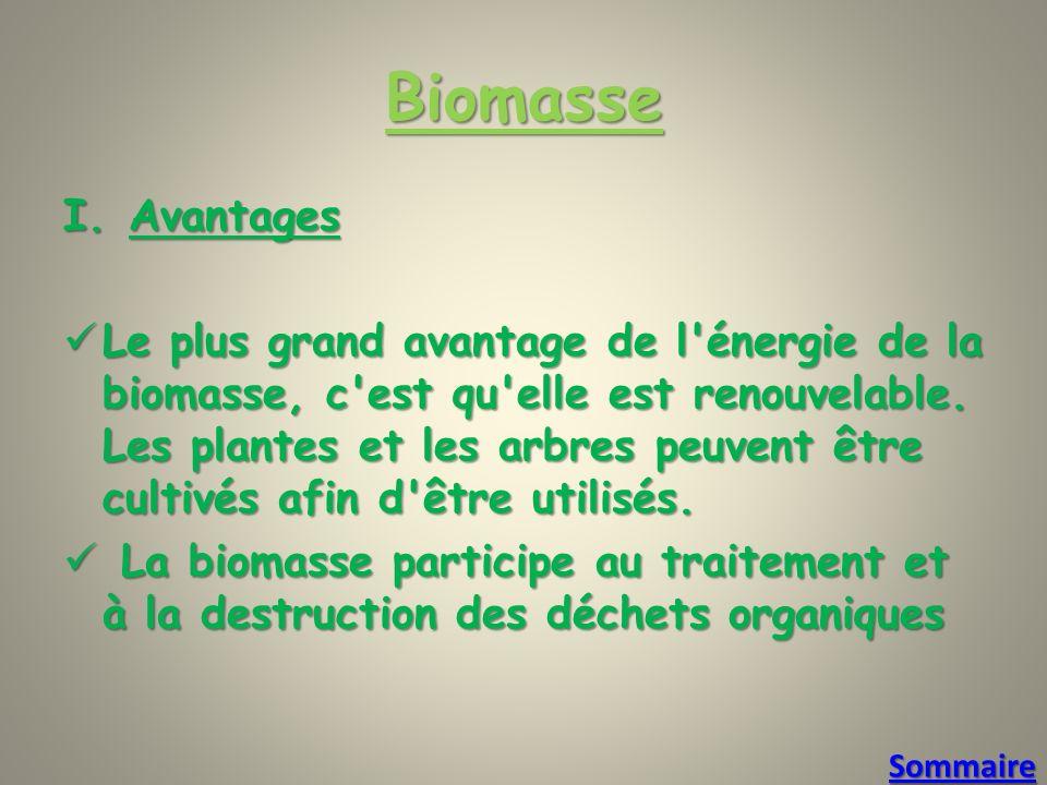 Biomasse Avantages.