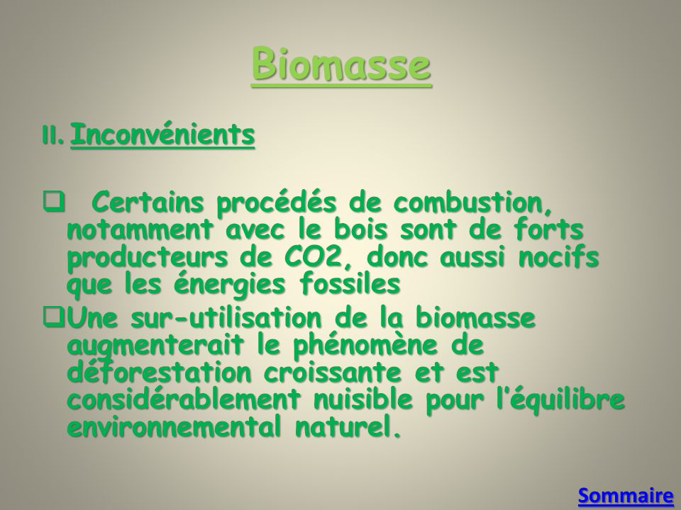 Biomasse II. Inconvénients