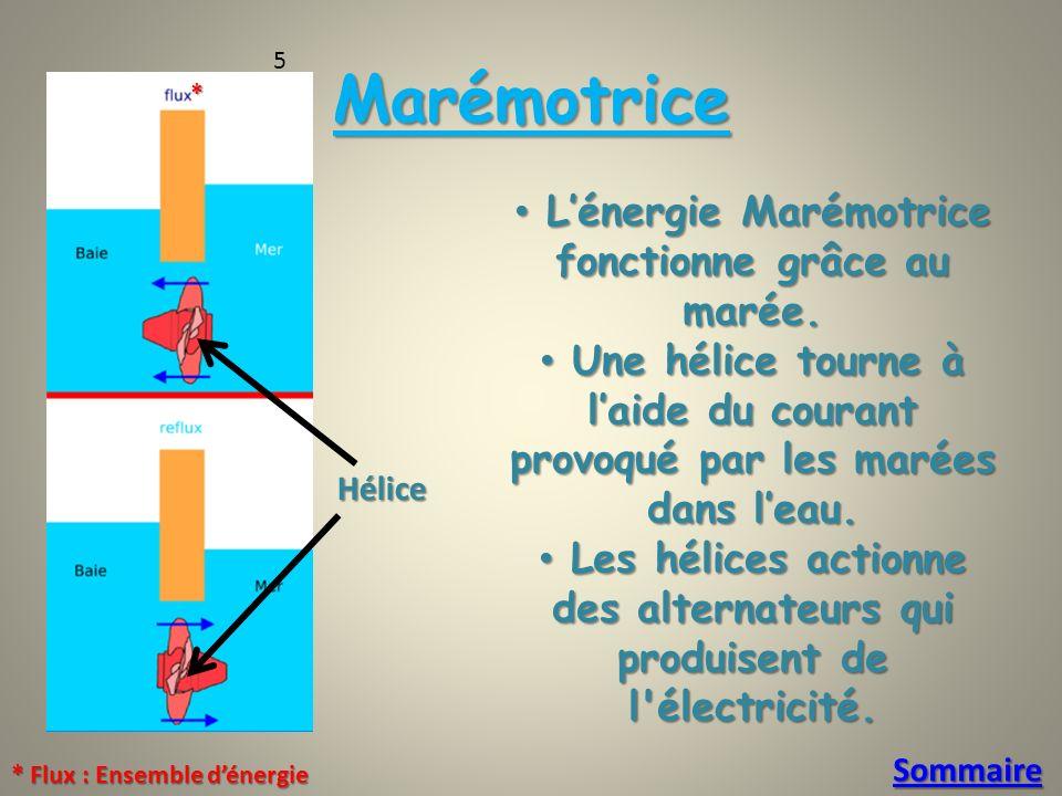 Marémotrice L'énergie Marémotrice fonctionne grâce au marée.
