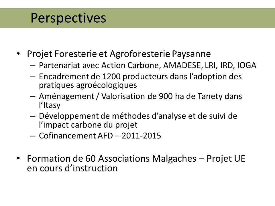 Perspectives Projet Foresterie et Agroforesterie Paysanne