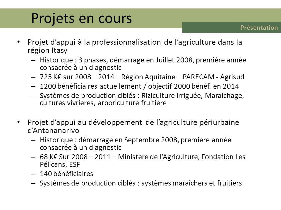 Projets en cours Présentation. Projet d'appui à la professionnalisation de l'agriculture dans la région Itasy.