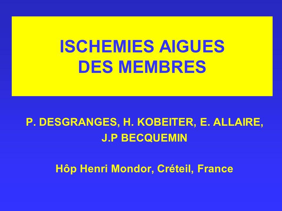 ISCHEMIES AIGUES DES MEMBRES