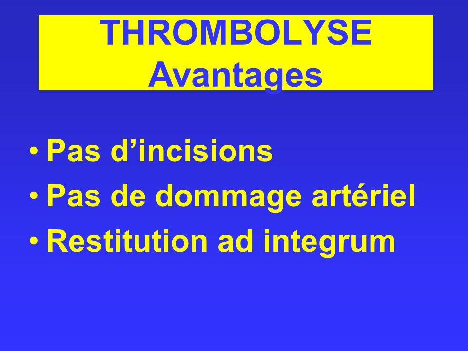 THROMBOLYSE Avantages