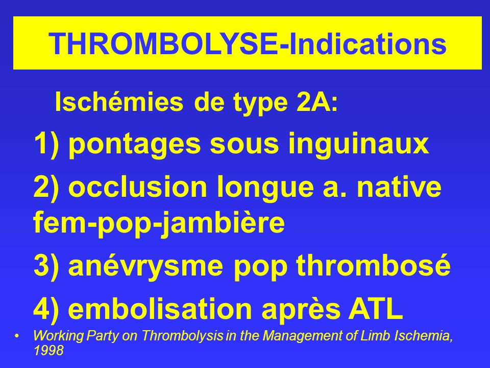 THROMBOLYSE-Indications