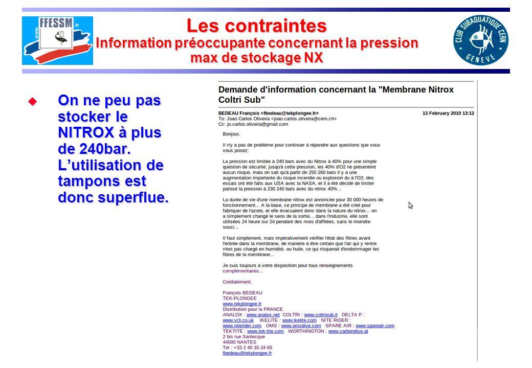 Les contraintes Information préoccupante concernant la pression max de stockage NX