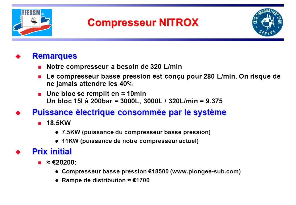 Compresseur NITROX Remarques