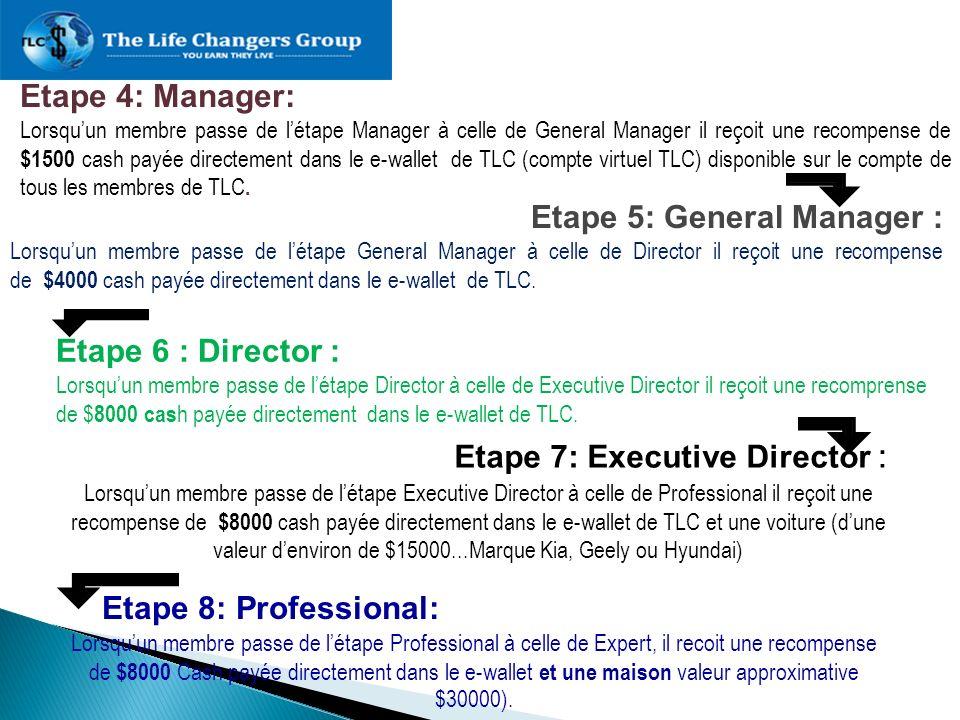 Etape 5: General Manager :