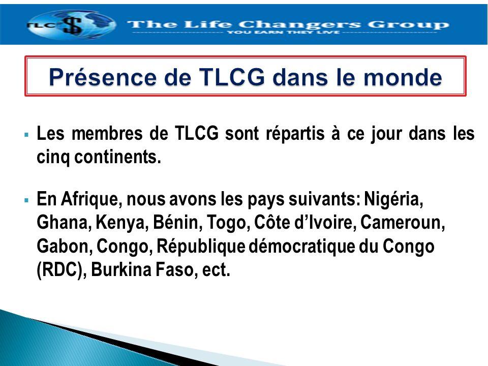 Présence de TLCG dans le monde
