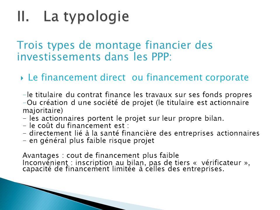 La typologie Trois types de montage financier des investissements dans les PPP: Le financement direct ou financement corporate.