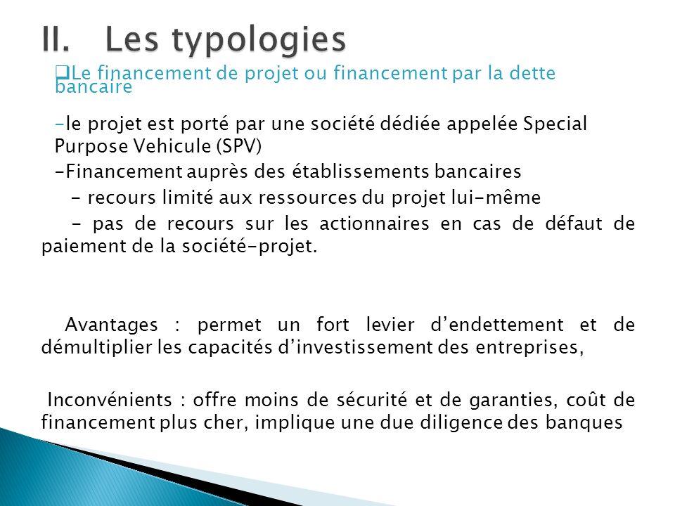 Les typologies Le financement de projet ou financement par la dette bancaire.