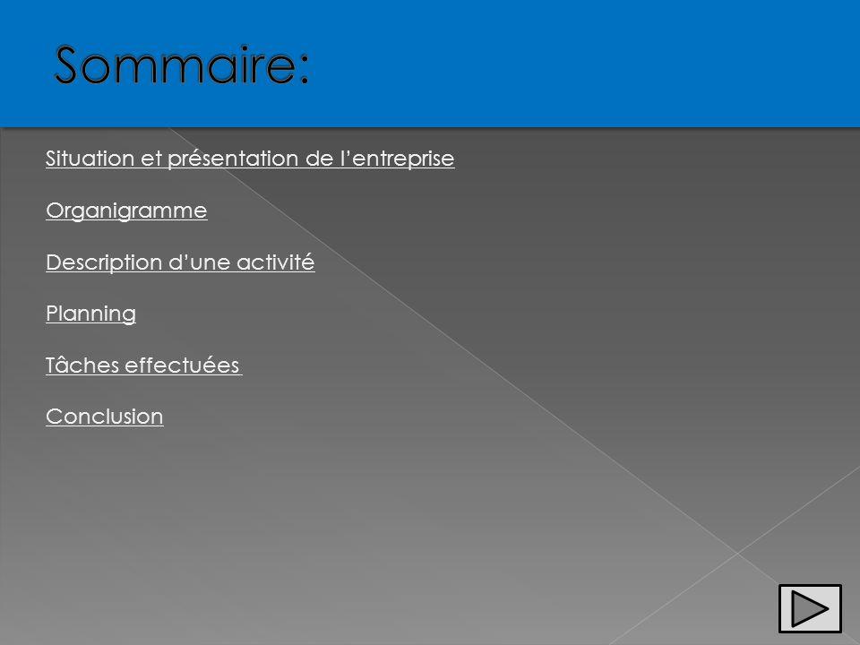 Sommaire: Situation et présentation de l'entreprise Organigramme