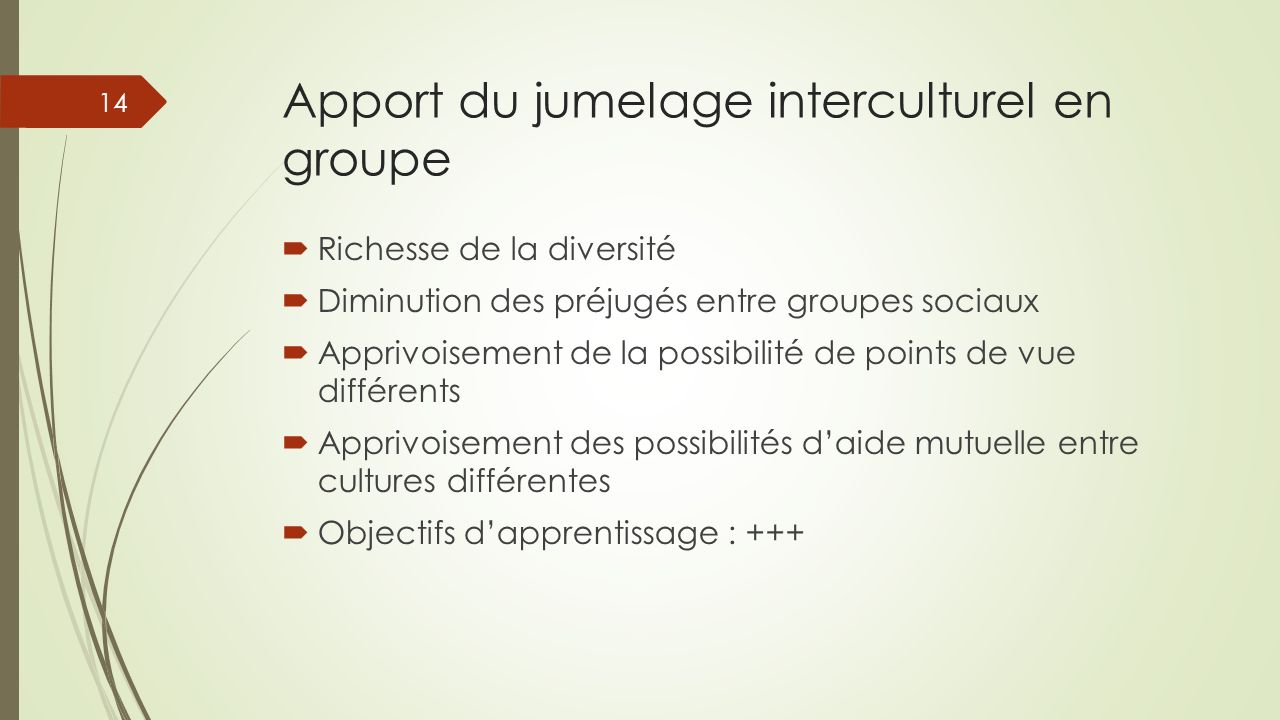 Apport du jumelage interculturel en groupe