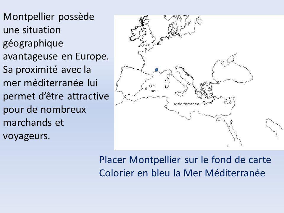 Placer Montpellier sur le fond de carte