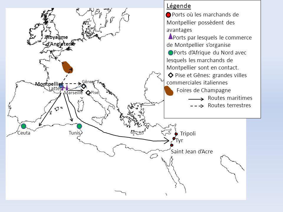 P Ports où les marchands de Montpellier possèdent des avantages
