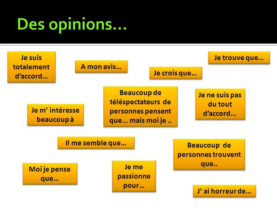 Des opinions… Je suis totalement d'accord… Je trouve que… A mon avis…